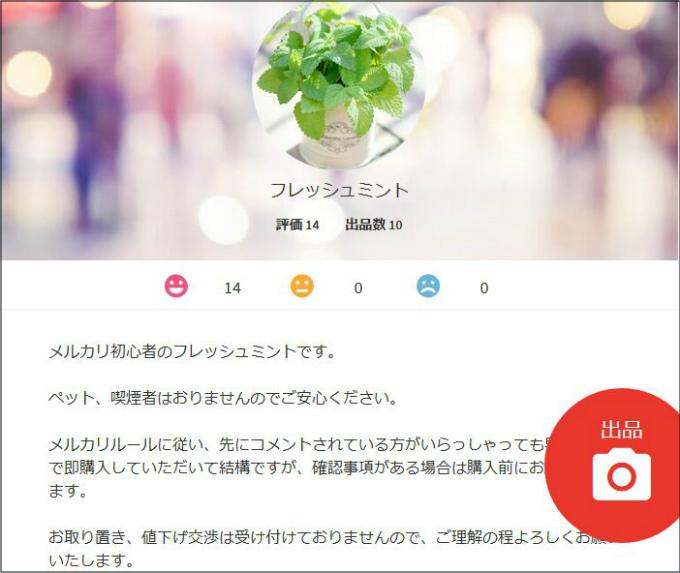 パソコン版のプロフィール画面